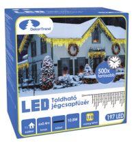 Dekortrend Kültéri KONTAKT LED jégcsapfüzér 197 db MELEG FEHÉR LED-del 6 x 0,4 m |DT_KDK 006|