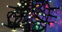 Dekortrend Kültéri SZÍNVÁLTÓ (Meleg fehér/színes) fényfüzér, 120 LED, 9,6 m zöld kábel
