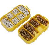 Extol Craft forgácslapcsavar és műanyag tipli klt.; 170db, műanyag tároló dobozban  1445 