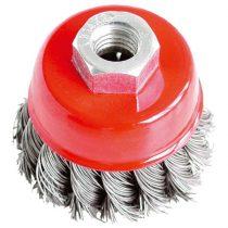 Extol Craft drótcsiszoló fazékkefe (sarokcsiszolóra) ; sodrott erős 65mm, max. 12500 ford/perc, 0,5 mm szálvastagság |17007|