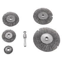 Extol Craft drótcsiszoló körkefe készlet; 6mm-es csap, 25-38-50-63-75mm