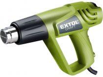 EXTOL hőlégfúvó, 2000W két fokozatú, 1000W/2000W, 350/550°C, 300/500 L/perc, kofferban, tartozékokkal