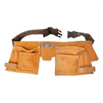 Extol Premium szerszámtartó öv, sok zsebes, hasított bőr ; műanyag csattal