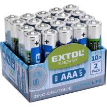 Extol Light elem klt. 20 db, cink-klorid, féltartós, 1,5V; méret: AAA (LR03), 10×2db-os kínálóban |42002|