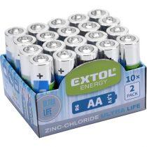 Extol Light elem klt. 20 db, cink-klorid, féltartós, 1,5V; méret: AA (LR6), 10×2db-os kínálóban |42003|