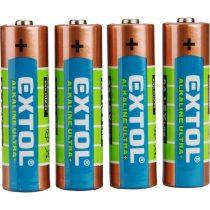 Extol Light elem klt. 4 db, alkáli, 1,5V, méret: AA (LR6); hosszú étettartam, bliszteren |42011|