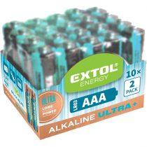EXTOL LIGHT elem klt. 20 db, alkáli, 1,5V, méret: AAA (LR03), hosszú étettartam, 10×2db-os kínálóban
