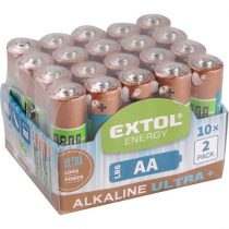 EXTOL LIGHT elem klt. 20 db, alkáli, 1,5V, méret: AA (LR6), hosszú étettartam, 10×2db-os kinálóban