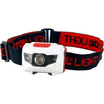 EXTOL LIGHT LED fejlámpa, 1 W fehér+2 piros LED, 40 Lumen, 4 funkció, elem nélkül