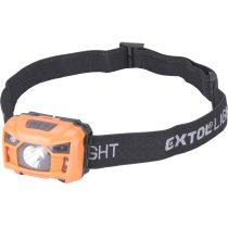 Extol LED fejlámpa, 3 W, CREE XPL, 100 Lumen; tölthető akkuval, 3 funkció (teljes/ 1/2 fényerő, villogás), fehér+piros