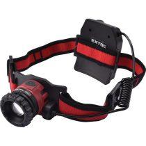 Extol Light LED fejlámpa, 10 W, CREE XPL, 450 Lumen; tölthető akkuval, zoom + 3 funkció (teljes/ 1/4 fényerő, villogás), fehér+piros  43190 