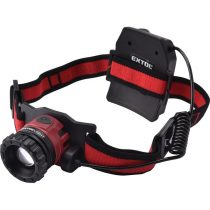 Extol Light LED fejlámpa, 10 W, CREE XPL, 450 Lumen; tölthető akkuval, zoom + 3 funkció (teljes/ 1/4 fényerő, villogás), fehér+piros