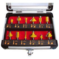 EXTOL felsőmaró klt. 12db, kissebb szett (alu kofferben) ; 8mm-es befogással, keményfém lapkás