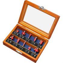 Extol Premium felsőmaró klt. 10 db-os (fadobozban) ; 6mm-es befogással, keményfém lapkás, csapágyas, 8893310 élmarógéphez