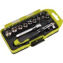 Extol Craft racsnis BIT és dugókulcs klt.; 23db-os, CrV., irányváltós, mágneses, műanyag dobozban |53090|