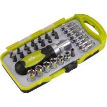 Extol Craft racsnis BIT dugókulcs, csavarhúzó klt.; 30db-os, CrV., irányváltós, mágneses, műanyag dobozban |53091|