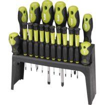 Extol Craft csavarhúzó klt. 18 db, CrV, mágneses, 4db lapos + 4 db PH + 10 db órás csavarhúzó, műanyag tartóval, bliszteren |53145|