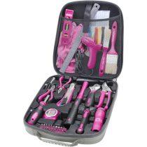 Extol Lady szerszámkészlet, 68db; Extol Lady, rózsaszín, fogó, csavarhúzók, kalapács, BIT-ek, melegragasztó pisztoly, LED-lámpa