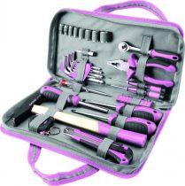 """EXTOL CRAFT szerszámkészlet, 39db, 1/4""""; Extol Lady, rózsaszín, 8 dugófej (5-14mm), fogó, csavarhúzók, kalapács, BIT-ek"""