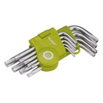 Extol Craft TORX kulcs klt., rövid, Cr40, TÜV/GS; 9db, T10-T50, bliszteren, egyik vége lyukas |66010|