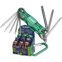 Extol Craft TORX kulcs klt., Cr40, többszínű, TÜV/GS; 8db, T6-T25, karabínerrel,