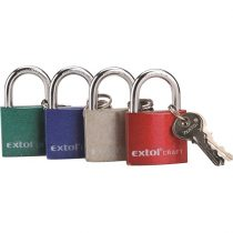 Extol Craft lakat, vas, 3 kulccsal, dobozban ; 63mm
