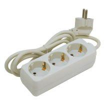 Extol Craft villamos elosztó/hosszabbító, 3 aljzat, 1,5m kábel, földelt, 250V/10A, max 2500W, Extol