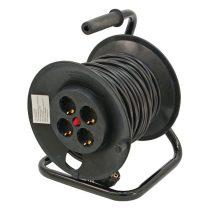 EXTOL villamos hosszabbító, dobra tekerve, 25m kábel, 4 db aljzat, 250V-10A; max:2300W/920W, (1,0mm2) Extol