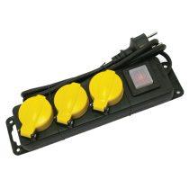 villamos elosztó/hosszabbító, kapcsolóval, kültéri IP44, 3 aljzat, 1,5m gumi kábel, földelt, 250V/16A; max:3500W,