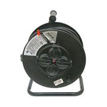 EXTOL villamos hosszabbító, dobra tekerve, 30m gumikábel, 4 db aljzat, IP44, 250V; max: 3000W/1000W, (1,5mm2)