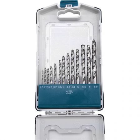 Extol Industrial fémfúró klt., 13db, HSS 9341/M2, 2-8 mm, acélra, normál befogás, polírozott, műanyag tartóban |8701118|