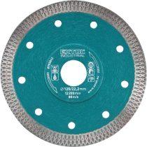 EXTOL INDUSTRIAL gyémántvágó, ipari korong, TURBO, extra vékony vágás: 1,2mm vastagság; 115×22,2mm, száraz és vizes vágásra