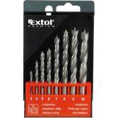 EXTOL PRÉMIUM fafúró klt. 8 db, rövid, 3-4-5-6-7-8-9-10mm, Cr.V., normál befogás; műanyag dobozban