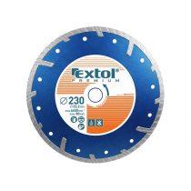EXTOL PRÉMIUM gyémántvágó TURBO Plus; 230mm, száraz és vizes vágáshoz, vágási mélység: 4,0 cm