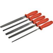 EXTOL PRÉMIUM fémreszelő klt., 5 db (lapos, félkerek, kerek, négyszög, háromszög), 200mm, T12 acél, vágat 2, finom, műanyag nyél