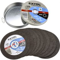 Extol Premium vágókorong 10 db, acélhoz/inoxhoz, kék; 125×1×22,2mm, max 12200 ford/perc, fémdobozban |8808103|