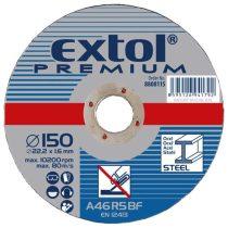 Extol Premium csiszoló korong acélhoz, kék; 125×6,0×22,2mm, max 12200 ford/perc