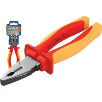 EXTOL PRÉMIUM kombinált fogó, 160mm, szigetelt,1000V VDE, DIN ISO 5746, CV, duál piros/sárga nyél, akasztós szerszámtartó