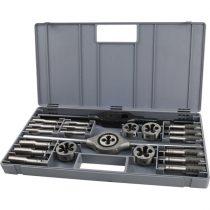 Extol Premium menetfúró- és menetmetsző klt., 23 db; M12-M14-M16-M18-M20+hajtóvas+befogó, ötvözött szerszámacél, műanyag koffer