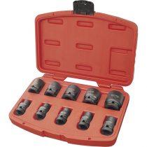 """EXTOL PRÉMIUM gépi (impakt) dugófej klt. 1/2"""", 10db, 9-27mm × 37 mm ; feketített, műanyag tartóban"""