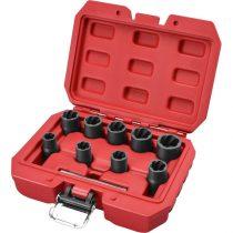"""Extol Premium csavarkiszedő klt. TWIST; 3/8"""" befogás, 9db fej: 10, 11, 12, 13, 14, 15, 16, 17, 19mm, 1 db kiütőrúd, CrMo, műanyag kof."""