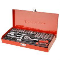 "Extol Premium dugókulcs klt., CV., racsnis 45fog ; 1/4"", 45db, 4-14mm, fém doboz |8818360|"