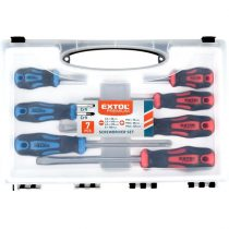 EXTOL PRÉMIUM csavarhúzó klt., 7db; lapos: 5,5×38, 5,5×100, 6,5×125mm és 8×150mm, PH1×75, PH2×38 és PH2×125, CV. mágneses, műanyag tar