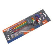 Extol Premium imbuszkulcs klt., 9db, több színű, extra hosszú; gömbfej, 9db 1,5-10mm, CV., 90-230mm