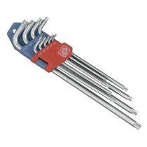 EXTOL PRÉMIUM torx kulcs klt. 9db, extra hosszú; T10-T50, hosszú szár: tömör, rövid szár: lyukas, CV., 90-225mm
