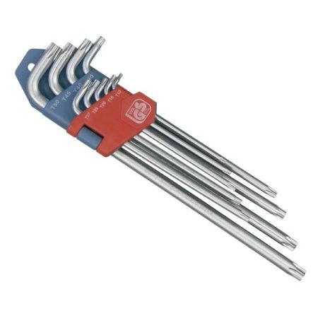 Extol Premium torx kulcs klt. 9db, extra hosszú; T10-T50, hosszú szár: tömör, rövid szár: lyukas, CV., 90-225mm  8819412 