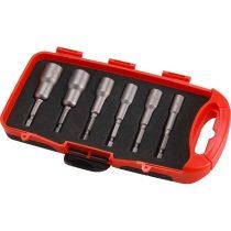 """Extol Premium behajtó klt. hatlapfejű csavarhoz 6db, 6-13mm (6-7-8-10-12-13mm), 65mm hossz, 1/4"""" hatszög befogás, mágneses, Cr.V."""