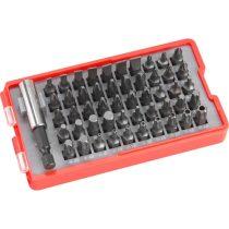 EXTOL PRÉMIUM behajtó klt. 51 db Cr.V., lapos:3-7mm, PH0-3, PZ0-3, HEX 1,5-6mm, T és TTa 8-40, övre akasztható műanyag tartóban