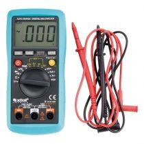 EXTOL PRÉMIUM digitális multiméter; Amper/Volt/Ohm mérő, hangjelző funkcióval, CE, 3 db 1,5V AAA elem