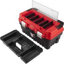 Extol Premium szerszámosláda, műanyag 462×256×242mm, fémcsatos, tálcával, lakatolható, ALU nyél
